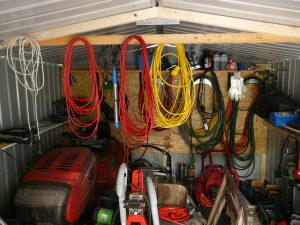 Garage full of cables and old stuff