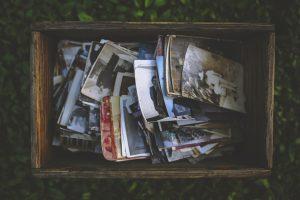 Box with photos.