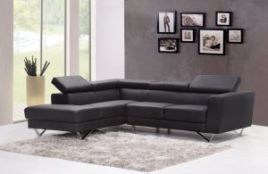 Large black leather couch