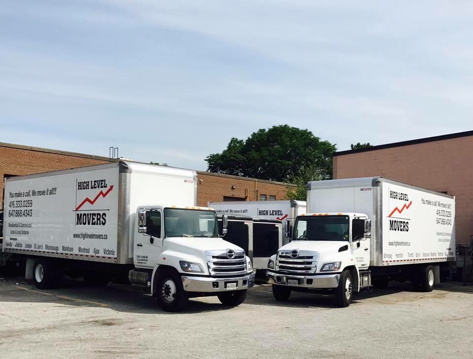Two High Level Movers trucks, one of many our movers Burlington use.